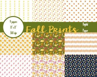 Fall Paper Pack, Fall Digital Paper, Autumn Digital Paper, Digital Paper, Autumn Backgrounds, Fall Patterns Digital Paper, Thanksgiving