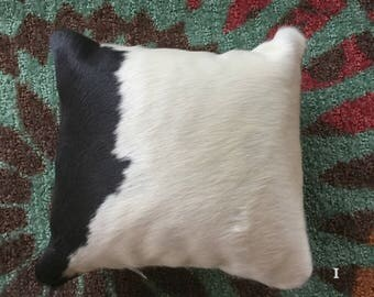 "Cowhide Pillow 12"" X 12""  Black and White  Cowboy Decor Western Southwest Cowboy Christmas I"