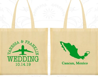 Mexico Tote Bags, Mexico Wedding, Imprinted Cotton Tote Bags, Destination Wedding Bags, Welcome Wedding Bags, Cancun Tote Bags (C184)