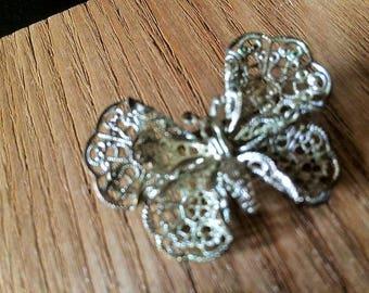 Vintage silver tone filigree butterfly brooch