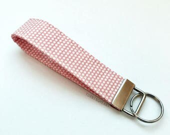 White Polka Dots on light Coral Key Fob, Chain