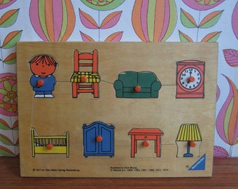 Vintage Wooden Dick Bruna Ravensburger Puzzle Home Living Bed Lamp Table Chair Clock Boy Children Child Toy Birthday Gift 1970s 1977 Miffy