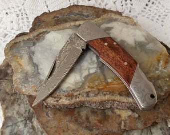 "Damascus Steel Pocket Knife, 3 1/4"" Closed, Lockback, Engraved Silver Nickel Bolsters, Clip Point Blade, Burl Wood Handles, Lanyard Hole"