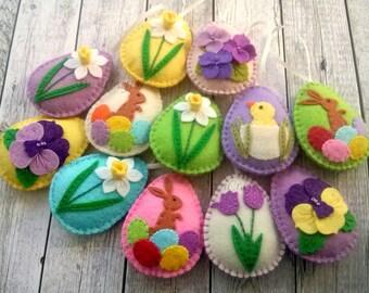 Felt Easter eggs, Felt Easter decoration set, Easter decor set, Felt Easter ornaments, felt decorated eggs / set of 12