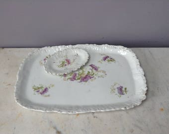 Vintage China Dressing Table Tray with Flowers