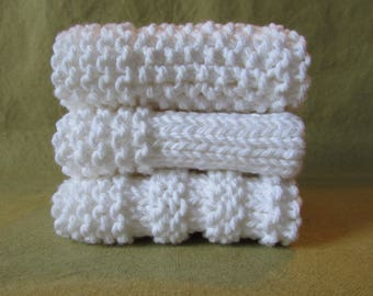 Set of 3 White Hand Made Wash cloths