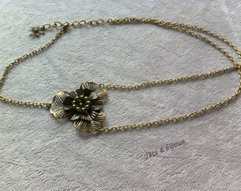 Headband olive green vintage flower with Pearl semi-perles wedding head jewelry