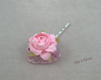 Pastel rose wedding and lace hair clip