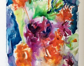 Floral painting Bouquet wall artdeco floral watercolor