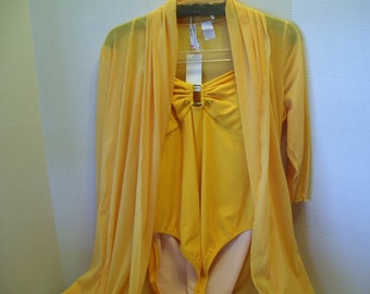 Vintage 80s Yellow Swimsuit Matching Cover Up