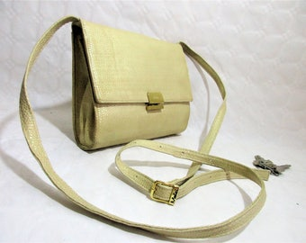 Vintage Ivory Textured Glossy Leather Small Cross Body Bag