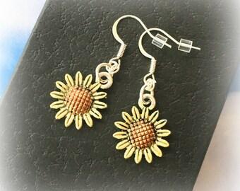 Yellow sunflower Earrings - Gardening gift - Charm earrings - Sunflower jewellery - Gift for gardener - Flower earrings - Stocking filler