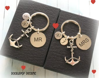 Personalised Valentine's gift - Mr and Mrs keychains - Couple gift - Anchor keyrings - Wedding gift - Mr and Mrs gift - Valentine's Day gift