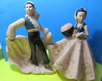 Vintage Rare Alexander Backer ABCO Chalkware Gypsy Latin Spanish Lady Men Dancers Sculpture Figurine