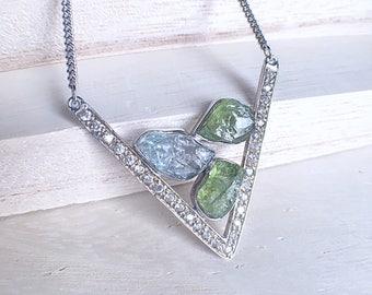 Raw peridot necklace, raw aquamarine, aquamarine neckace, peridot necklace, raw gemstone necklace, crystal necklace, peridot pendant, Zeba