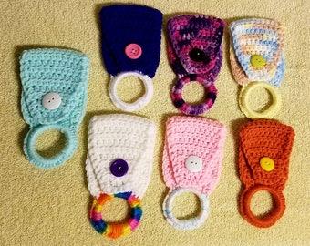 Crochet dishtowel holder, tea towel holder, kitchen towel holder