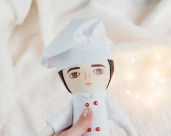 SALE Chef doll, Handmade doll, Cloth doll, stuffed toy, gift idea for kids