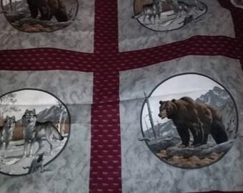 Bear Wolf Wildlife Fabric
