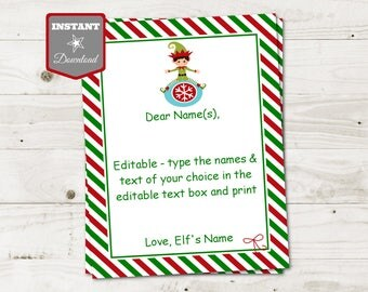 INSTANT DOWNLOAD Editable Boy Elf Letterhead / You Type Names & Message / Christmas Shop / Item #3078