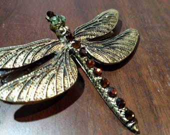 Dragonfly with Brown Crystal Hair Jewelry