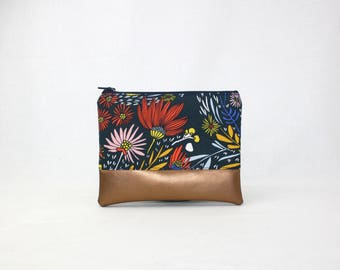 MIDI bag - copper vegan - flowers and blossoms - bag - purse - make-up bag - cellphone - wallet and purse - make-up bag