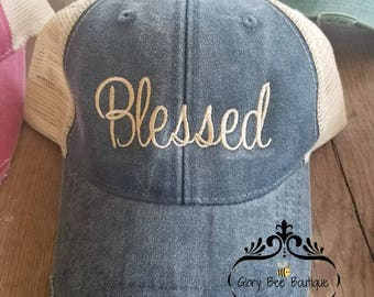 Blessed Trucker Hat, Blessed Distressed Trucker Hat, Blessed Cap, Blessed Distressed Cap