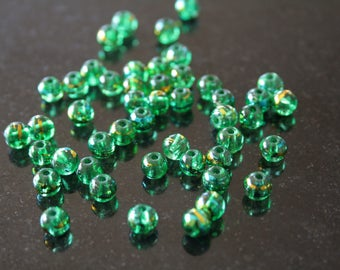 Set of 30 glass beads round, lezardees color painted.  (ref:2719).