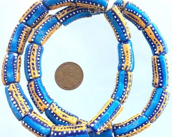Blue musturd yellow and white design African Krobo Recycled Glass Trade Beads (24PCS)