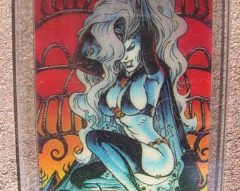 1994 Lady Death Chase Card #5 Clearchrome Holochrome card art by Steven Hughes