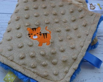 Minky Security Blanket... Blue and Tan Minky Baby Blanket... Lovey Blanket... Minky Tag Blanket... Tiger Baby Blanket