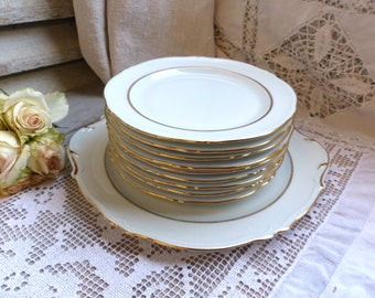 VINTAGE LIMOGES dessert plates with matching cake plate. White and gold. Set of 9 plus 1 cake plate. Vintage wedding gift. Dessert set