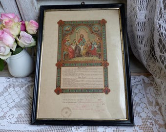 Antique french color lithograph first communion and confirmation certificate. Dated May 1908. Jesus Christ Last Supper 12 apostles.