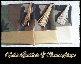 Gold LEATER & camouflage - clutch 403 fb. 08-420