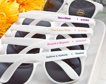 40+ Personalized White Sunglasses, Customized Sunglass Favors, Beach Party Favors, Wedding Favors (6777ST)