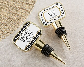 Bottle Stopper Favors - Personalized Wine Stoppers - Wedding Favors - Bridal Shower Party Favor - Wine Wedding - Vinyard Favor (11189GD-MOA)