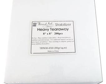 Heavy Tearaway Embroidery Backing Stabilizer - 8x8 200 precut sheets