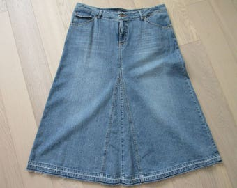 French Cuff size 14 vintage denim fly front mid length a line skirt