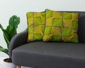 African print pillow 2 set - African pillow cover  -  Afrocentric cushion - African cushion - decorative pillow - Greenery Maze