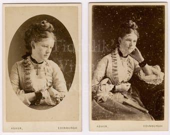 CDV Carte de Visite 2 Photos Victorian Young Attractive Woman, Pretty Dress, Plaited Hair  Portraits - Alex Asher of Edinburgh Scotland
