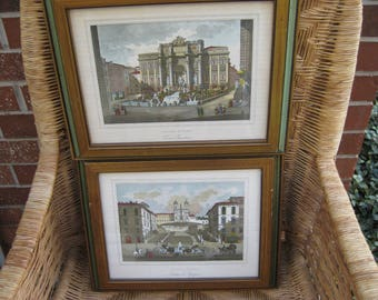 On Sale, 30% Off, Two Vintage Italian Lithographic Prints sold by R. Letsch Fine Arts,Trevi Fountain and Piazza di Sagna.