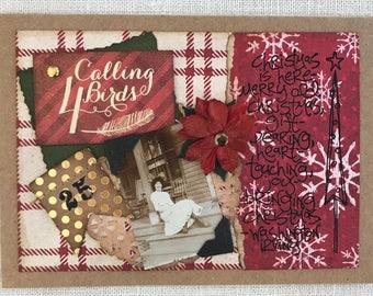 Christmas Card ~ Holiday Card ~ Handmade Card ~ Vintage Collage Card ~ Christmas ~ Vintage-Inspired Card ~ Vintage Photograph ~ Poinsettia