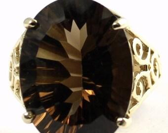 On Sale, 30% Off, Smoky Quartz, 10KY Gold Ring R049,