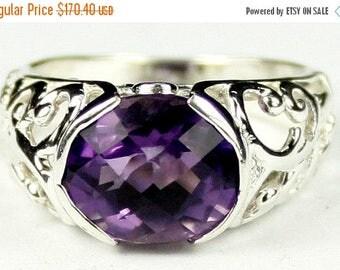 On Sale, 30% Off, Amethyst, East-West 925 Sterling Silver Ring, SR360