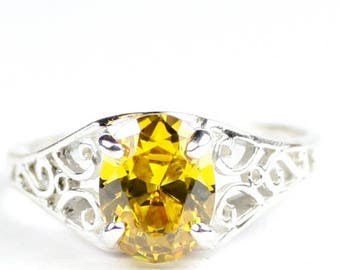 Halloween 30% Off, Golden Yellow CZ, 925 Sterling Silver Ring, SR005