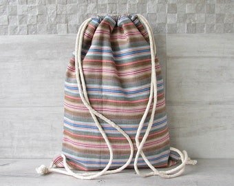 Canvas Drawstring backpack , Fabric  Bag, Bohemian Crossbody Purse Rustic Style Mens Fashion