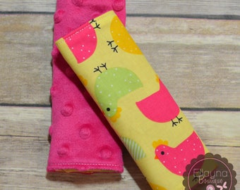 Car Seat Strap Covers - Chickens, Yellow, Pink, Green