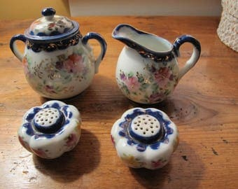 Vintage Flow Blue Creamer Sugar Salt & Pepper Shakers
