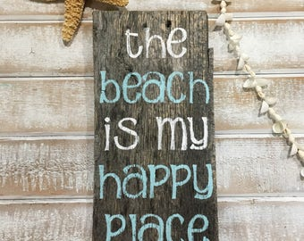 Beach signs, beach decor, the beach is my happy place, happy place sign, coastal decor, tropical decor, gift, beach, beach lover,