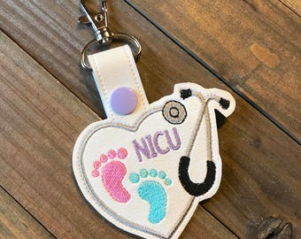 NIcu nurse Keychain, Nicu Key chain, Nicu steth clip, Nicu Nurse Zipper Pull Bag Tag, Nicu Nurse gift keychain