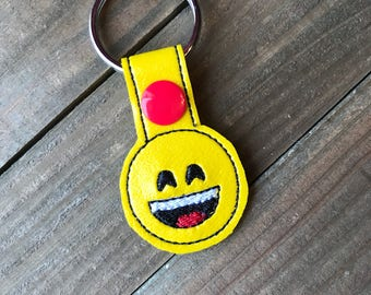 Smiley Face Emoji Keychain, Smiley Face Key chain, Emoji Zipper Pull Bag Tag, Smiley Face Bag Tag
